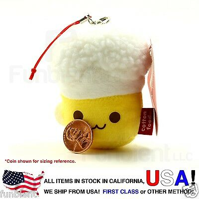 Beer Mug CottonFoods smart phone anti dust plug plush charm screen wipe keychain