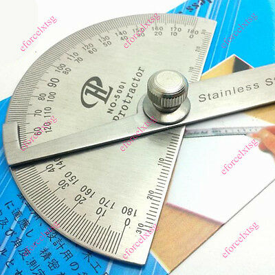 Protractor Straightedge Stainless 180° Adjustment Semicircle Gauge Angle Ruler