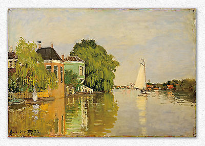 Claude Monet  Houses on the Achterzaan  46 x 67 cm  STAMPA SU TELA CANVAS