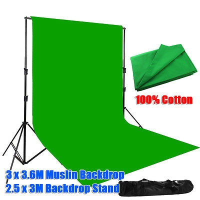Photo Screen 3x3.6m Green Muslin Backdrop Studio Heavy Duty Background Stand Kit