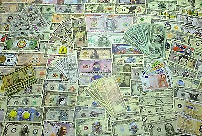 Collection Lot with 140 different NOVELTY FANTASY FUNNY notes uncirculated