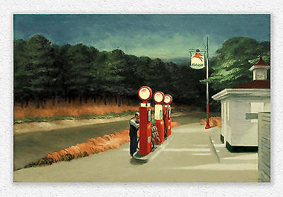 Edward Hopper   Gas   66x100 cm   STAMPA TELA CANVAS PRINT TOILE LIENZO QUADRI