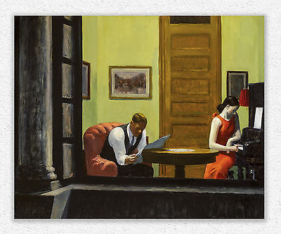 Edward Hopper  Room in New York  74x91cm  STAMPA TELA CANVAS PRINT TOILE LIENZO