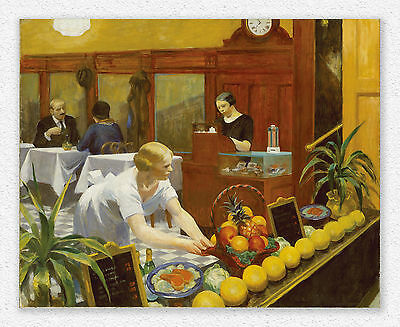 Edward Hopper  Tables for Ladies  80x100cm STAMPA TELA CANVAS PRINT TOILE LIENZO