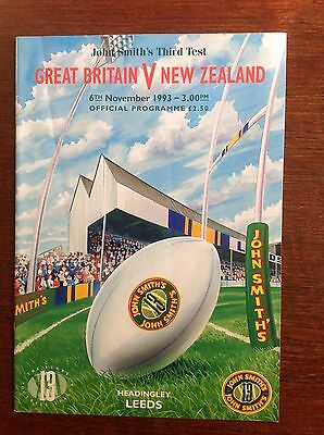 Great Britain v New Zealand 3rd Test 1993 Rugby League Programme