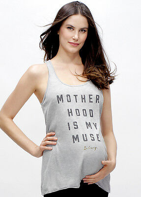 NEW - Blanqi - Motherhood Is My Muse Racerback Tank in Grey - Maternity Top