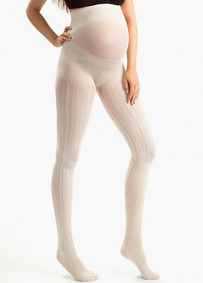 NEW - Blanqi - Uptown Girl Creme Patterned Belly Support Maternity Tights
