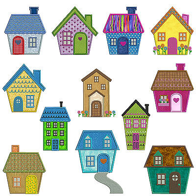 HOME SWEET HOME  * Machine Applique Embroidery Patterns * 12 Designs, 2 sizes