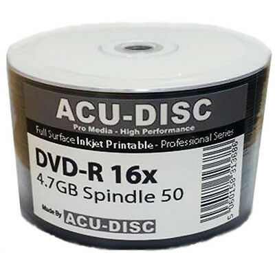 100x ACU-DISC PRO DVD-R 16X SPEED FULL FACE INKJET PRINTABLE 4.75GB