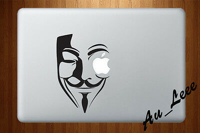 Macbook Air Pro Vinyl Skin Sticker Decal Vendetta Anonymous Guy Fawkes Mask M738