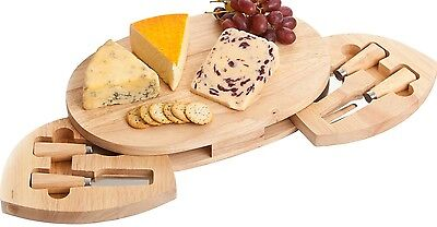 Occasion Large Oval Hevea Cheese Board with 2 Drawers and 4 Cheese Knives