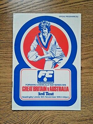Great Britain v Australia 3rd Test 1978 Rugby League Programme