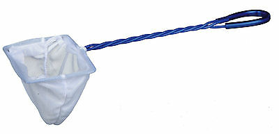 "4"" Fine White Aquarium Fish Tank Bowl Net 4"" Fish Catch Net with Blue Handle"