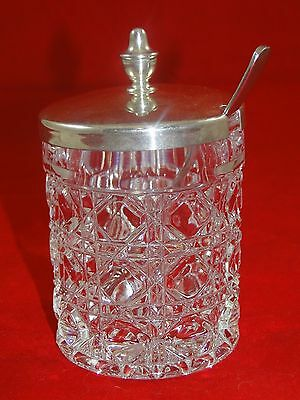 Vintage Lead Crystal & Silver Plated Lid Condiment Jar With Demi Spoon