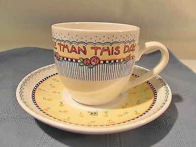 """Mary Engelbreit Cup/Saucer """"Nothing is worth more than this day"""" Afternoon Tea!"""