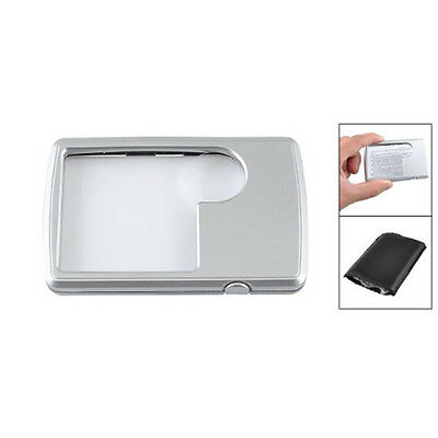 Silver Tone Shell LED IllumInated Magnifying Glass Pocket Magnifier LW