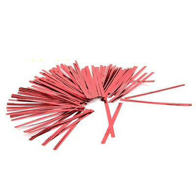100 Pcs Red Metallic Twist Ties for Cello Candy Bags Party 8cm LW