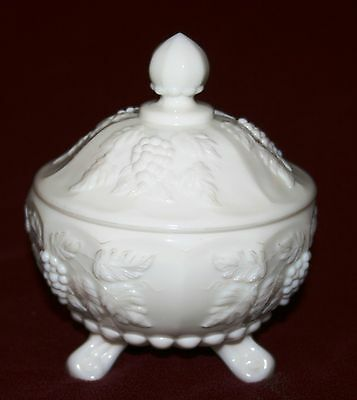 Vintage Collectible Signed Westmoreland Glass Paneled Grape 3-Footed Candy Dish!