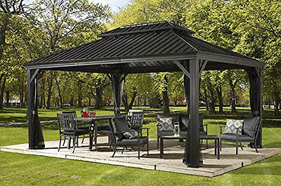 Gazebo as well Gazebo Sedona 53 Sunshelter 12 X 14 Steel And Alu Pc Roof 2 Rails Without Mosquito   Very Heavy Duty Structure 120 Mm Posts And Ogees 9839656 in addition 142148629273 also Gazebos moreover N 5yc1vZbtya. on hardtop gazebo 12 x 16