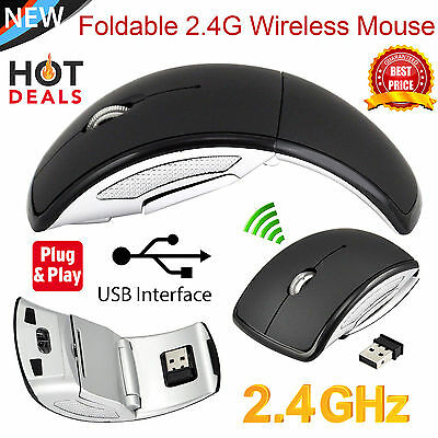 2.4Ghz Wireless Arc Folding Optical Scroll Wheel Mouse Mice For PC Laptop Black1