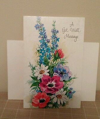 Vintage Fantusy Get Well Message Card Flowers Floral