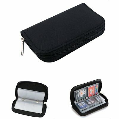 CF Micro SD SDHC MMC Memory Card Holder Storage Carry Pouch Wallet Case - Black