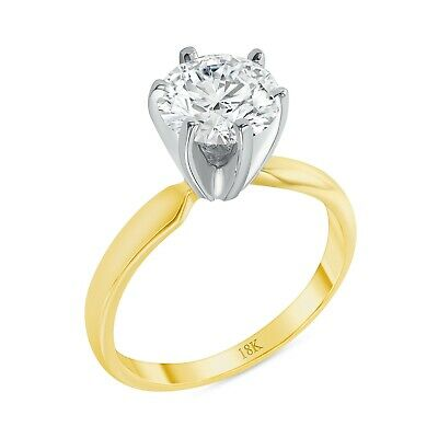 2 Ct Round Cut Solitaire Engagement Wedding Ring Solid 18K Yellow Gold