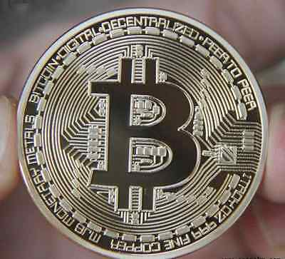 Gold Plated Bitcoins Coin Collectible Gift Physical BTC Coin Art Collection US
