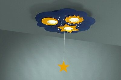 Space / Moon & Stars Themed Children's Ceiling Light For Kids Bedroom Pullswitch