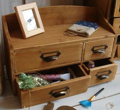 Small Wooden Cabinet 4 Drawers Shelf Vintage Shabby Chic Rustic Office Desk Tidy