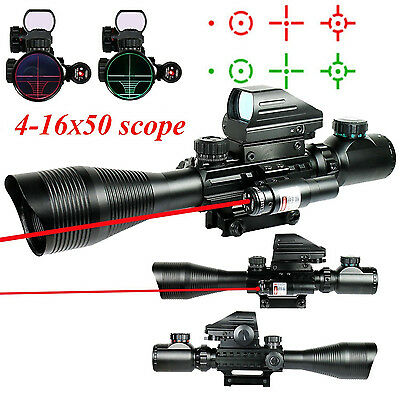 Telescopic 4-16x50EG Green/Red Hunting Rifle Scope Red Laser Holographic Sight