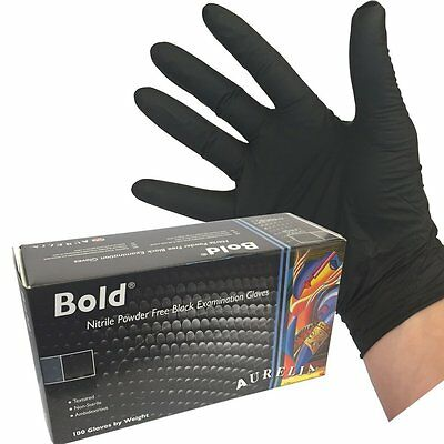 (200 GLOVES) Heavy Duty Black Powder Free Nitrile Disposable Gloves (LARGE)