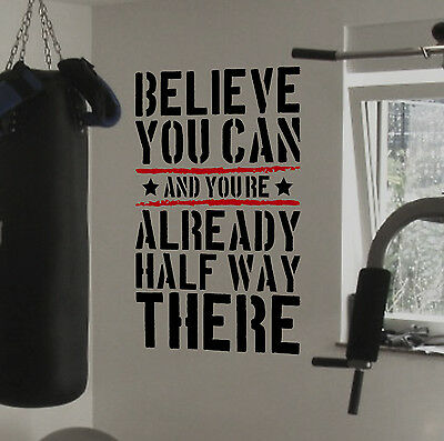Believe You Can Gym Motivational Wall Decal Quote Fitness Strength Workout Home