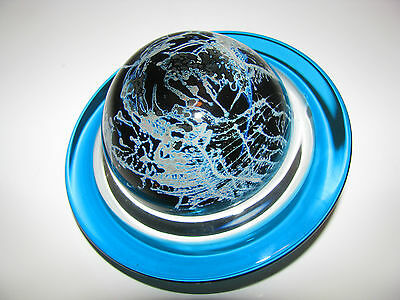 Large CORREIA PLANET SATURN ART GLASS  PAPERWEIGHT: Aqua Blue, SIGNED, NUMBERED