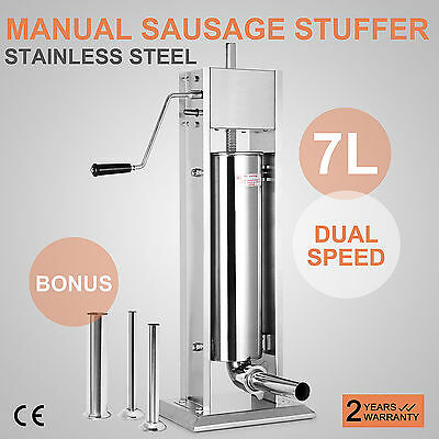 7L Vertical Commercial Sausage Stuffer 20LB Two Speed Stainless Steel Meat Press