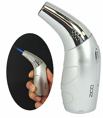 Zico (ORIGINAL) MT-22 Ergonomic Grip Refillable Butane Torch Lighter - Silver