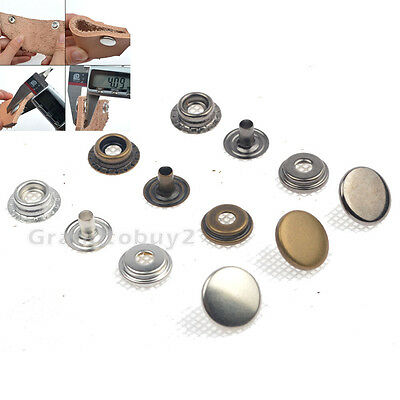 Pack 15 Sets 15mm Snap Fasteners Press Studs Popper Sewing Button Leather Craft