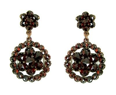 Round Vintage garnet earrings w/14ctgold studs Victorian style || ГРАНАТ