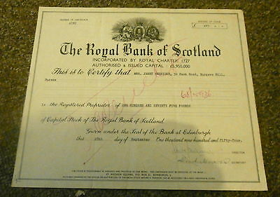 ROYAL BANK OF SCOTLAND - Stock Certificate