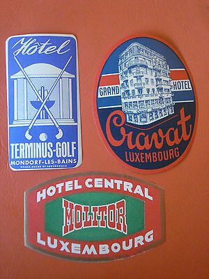 50´s Lot of 3 hotel luggage labels from LUXEMBOURG original rare