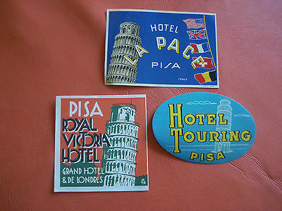 50´s lot of 3 Hotel luggage labels from Pisa Italy ORIGINAL RARE