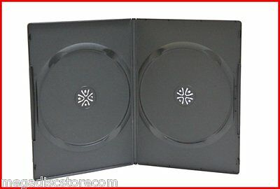 New Premium 7mm Slim Dual CD DVD Storage Case Double Black 2 Discs Box 100Pk