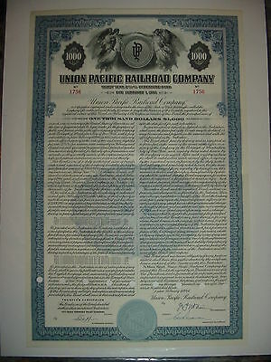 Union Pacific Railroad Bond Stock Certificate UP