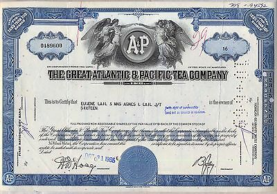 The Great Atlantic & Pacific Tea Company Stock Certificate Blue Maryland