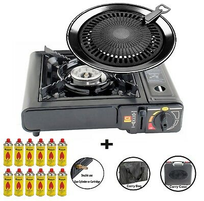 Portable Gas stove 1 Burner Grill plate Camping Outdoor Cooker 2.5kW Case NEW