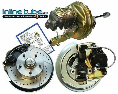 64-66 A-body Front Power Disc Brake Conversion Kit Cross Drilled Slotted Rotors