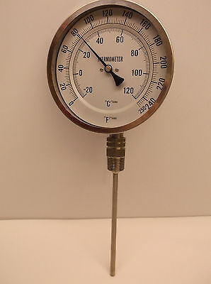 New Bimetal Thermometer 5 In Dial 0 to 250F (A52)