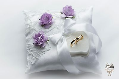 wedding ring pillow, cushion, engagement ring holder, P4 ,violet ,oreiller annea