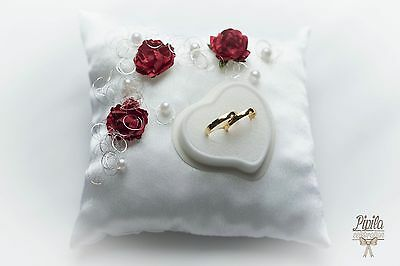 wedding ring pillow, cushion, engagement ring holder, P27 ,  red roses / thread