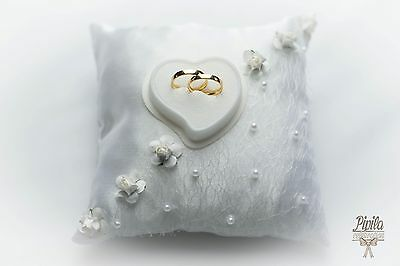 wedding ring pillow, cushion, engagement ring holder, P23 ,  small roses,mariage